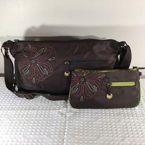 Travelon dark brown bag and wallet set